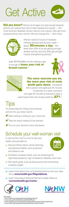 Physical activity can reduce your risk of heart disease and cancer!