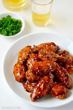 Crispy Baked Teriyaki Chicken Wings | recipe via justataste.com