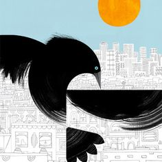 Silent Observer by Marc Martin Marc Martin, That's So Raven, Bird Migration, Jackdaw, Miniature Quilts, Sculpture, Bird Design, Bird Art, Graphic Illustration