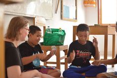 Volunteer Sanna with the boys in class. #vpbali #volunteerabroad #inspire #charity