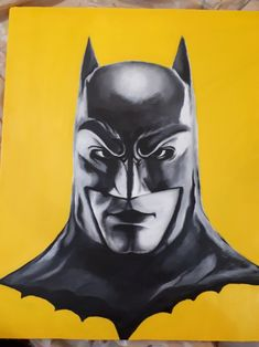 Black & yellow painting of batman on canvas (acrylic) Batman Painting, Yellow Painting, Black N Yellow, Superhero, Canvas, Fictional Characters, Art, Tela, Art Background