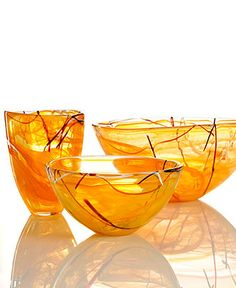 Reminds me of orange peels...refreshing. Kosta Boda Crystal Giftware, Contrast Orange Collection - Collections - for the home - Macy's