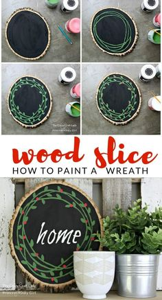 This Wood Slice Painted Wreath is such a great DIY and easy Christmas craft., DIY and Crafts, This Wood Slice Painted Wreath is such a great DIY and easy Christmas craft. It puts a new spin on an old classic wreath. You will love this Christmas. Christmas Crafts To Make, Christmas Wood, Simple Christmas, Holiday Crafts, Christmas Wreaths, Christmas Decorations, Beach Christmas, Christmas Music, Christmas Signs