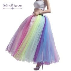 44d35c2b0b US $21.41 23% OFF|MisShow New Arrival Colorful Beach Maxi Skirt 2019 Sexy  Ladies Tulle Skirt Women's Long Floor Length Rainbow Tutu Skirt Women-in  Skirts ...
