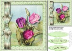 Beautiful Spring tulips in a pearl Frame  on Craftsuprint - Add To Basket!