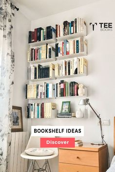 Create the best #bookcase with TEEbooks floating shelves! The very heart of #book fans can be found by the way they manage their volumes. Book readers practice their possession with maximum care because books are not a printed unit for them, they are the solution to a complex world of creativity. Floating Bookshelves, Wall Bookshelves, Bookshelf Design, Wall Mounted Shelves, Bookcase, Contemporary Shelving, Bibliotheque Design, Decoration, Girls Bedroom