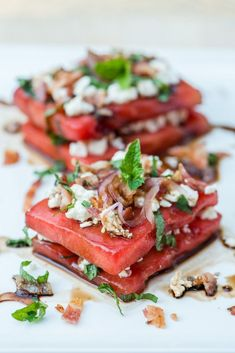 Watermelon stacks with mint, pecans, caramelized onions and balsamic vinegar.