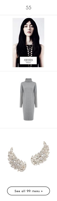 """""""55"""" by pocahaunted666 ❤ liked on Polyvore featuring dresses, dark grey, dark grey dress, high neck dress, dark gray dress, warehouse dresses, high neckline dress, jewelry, earrings and feather earrings"""