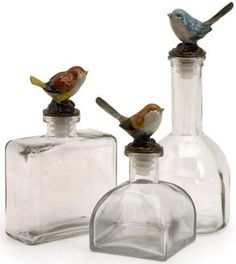 Maco Bird Bottles - Set of 3... These would be great in the kitchen or as decor on a bookshelf.