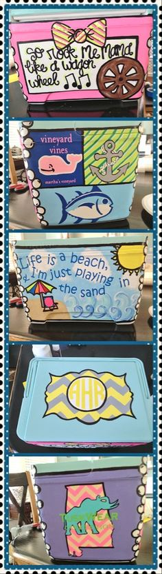 cooler idea this would look awesome with ΣΚΩ designs Diy Cooler, Coolest Cooler, Beach Cooler, Yeti Cooler, Fraternity Coolers, Frat Coolers, Cute Crafts, Diy And Crafts, Arts And Crafts