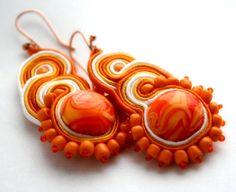 orange sunset   soutache earrings by KimimilaArt