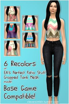 Croped tank base game compatible at Clever simblr � Sims 4 Updates