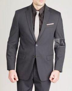 Men's Calvin Klein 2 Button Black Suit: