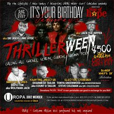 Thrillerween Halloween Party 10/31/15 at Uropa located at 3302 Mercer, Houston, TX 77027. Hosted by Houston's Ladies Night Out & It's Your Birthday Saturday's. $500 costume contest.  For tickets go to https://thrillerween.eventbrite.com  Bring a can good or non-perishable item to donate to the Star of Hope.