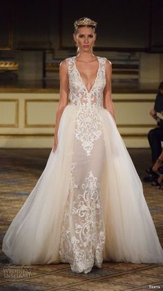 berta fall 2016 new york bridal fashion week beautiful wedding dress v neck plunging neckline tulle overskirt lace embroidery
