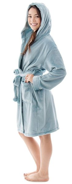 ec6f98dbff Women s Luxuriously Plush Cozy Collared Bath Robe w Pockets - Glitter Light  Blue - CS188Y0IO6U