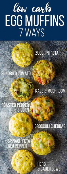 Enjoy these low carb egg muffins for breakfast on the go, or even for a healthy snack! With 7 different flavors, you will never get bored. Stock your freezer so you always have healthy options! Meal prep for breakfast that can be healthy! #mealprep #eggs #eggmuffin #lowcarb #sweetpeasandsaffron #vegetarian