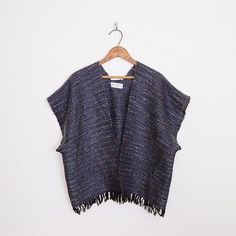 vintage 70s boho hippie ETHNIC MEXICAN MOHAIR WOVEN FRINGE PONCHO cape jacket top OS $28.00