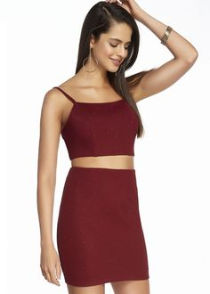 Two Piece Glitter Jersey Bodycon Dress Alyce 4157, Holiday Dresses at RissyRoos.com, available in Wine, White, and Light Blue