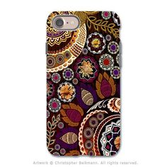 Autumn Paisley Mehndi - Artistic iPhone 7 Tough Case - Dual Layer Protection - Autumn Mehndi