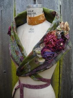 HAND STITCHED PORTRAIT STOLE    CHIFFON HAND MADE ROSES + WOOL CLOTH    ONCE SIZE COMMISSIONED ITEM    $428 SOLD