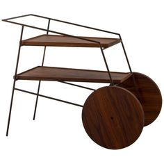For Sale on - This bar cart or tea trolley can be made in different types of wood and has its structure in steel. It may be used as a functional and at the same time Contemporary Bar Carts, Contemporary Armchair, Contemporary Design, Bar Furniture, Modern Furniture, Furniture Storage, Cheap Furniture, Tea Trolley, Trolley Table