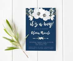 Baby shower invitations navy blue, floral baby Shower boy invites, check out the link for tons of invitations by lovelypapershop.