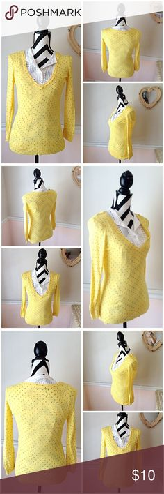 Maurices Yellow & Black Polka Dot V-Neck Top Yellow & Black Polka Dot V-Neck Top. *White blouse not included* Size Small. Used, Great Condition. No stains, No holes, No rips. Bust is 40 inches. Sleeves are quarter sleeve. Length of top is 28 inches. Top is 100% rayon. Feel free to ask questions. 🚫NO TRADES🚫 Maurices Tops