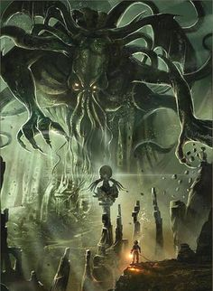 "Cthulu -""Ph'nglui mglw'nafh Cthulhu R'lyeh wgah'nagl fhtagn"" (""In his house at… Call Of Cthulhu, Art Cthulhu, Cthulhu Tattoo, Hp Lovecraft, Lovecraft Cthulhu, Arte Horror, Horror Art, Dark Fantasy, Fantasy Art"