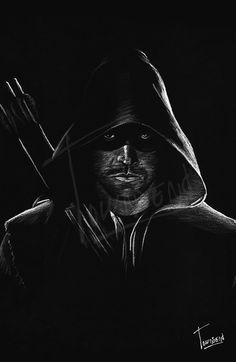 """The Arrow"" - 12x12 white pencil on black paper."