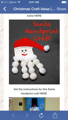 Santa hand print craft