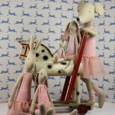 Maileg Ballerina Rabbits, Bunnies and Mouse Franck Fischer, Maileg Bunny, Sock Bunny, Fabric Toys, Cute Toys, Doll Maker, Antique Toys, Toys For Girls, Handmade Toys