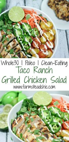 This Taco Ranch Grilled Chicken Salad combines two of summer';s greatest joys: (1) grilling and (2) loads of fresh veggies. Whole30, Paleo, Dairy-free!