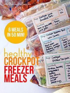 Six Healthy Freezer Crockpot Meals in 50 Minutes