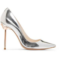 Sophia Webster Silver Coco Flamingo Heels (€415) ❤ liked on Polyvore featuring shoes, pumps, silver, leather sole shoes, sophia webster shoes, metallic pointed toe pumps, silver stilettos and metallic pumps