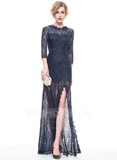 A-Line Princess Scoop Neck Floor-Length Split Front Sleeves Sleeves No 2016  Dark Navy Spring Summer Fall General Plus Lace Evening Dress ebfb00d724d3