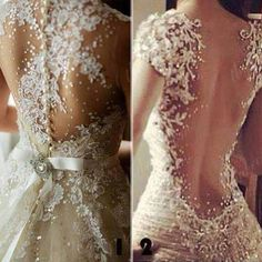 Really pretty wedding dress with lace down the back...