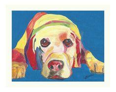 Yellow Labrador Retriever Limited Edition Print by AbeesArtStudio, $17.00