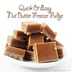 Quick & Easy Nut Butter Freezer Fudge (gluten, grain, dairy free, paleo) - gotta love the simplicity. Paleo Dessert, Gluten Free Desserts, Dairy Free Recipes, Healthy Desserts, Whole Food Recipes, Dessert Recipes, Cooking Recipes, Freezer Cooking, Healthy Foods