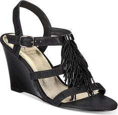 Adrianna Papell Women's Shoes in Black Color. Adrianna Papell Adair Fringe Wedge Evening Sandals Women's Shoes