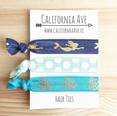 Mermaid Hair Tie Set of 3 by CaliforniaAve on Etsy