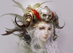 Fantasy Women  Headdress Horns Wallpaper