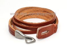 Mens Bracelet  Brown Leather With Metal Hook Cuff Bracelet B150. $8.50, via Etsy.