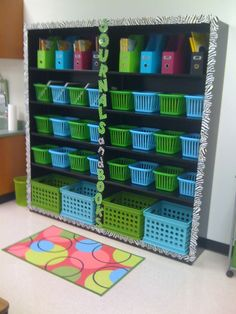 Glitzy In 1st Grade: Classroom Decor - boarders around shelving & letters on shelving. Great idea!