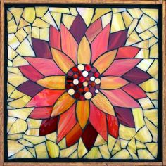 """Student Work - Framed Stained Glass Mosaic Water Lily 12"""" x 12"""" created by Alice in a Stained Glass Mosaic Flower Workshop with Artist Kasia Polkowska - Next Upcoming Class in Boulder, Colorado is Novermber 15-16, 2014 Sign up on: www.kasiamosaics.com Plus there will be 35 different locations through out the US in 2015."""