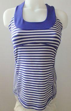 Lululemon Racer Back Tank Top Size 6 Pigment Blue  White Mesh Scoop Run Yoga Gym #Lululemon #ShirtsTops