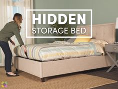 With this hidden storage bed, you can cut down . With this hidden storage bed, you can cut down on clutter without - Woodworking Bench For Sale, Woodworking In An Apartment, Woodworking Videos, Woodworking Chisels, Woodworking Books, Woodworking Patterns, Woodworking Machinery, Woodworking Projects, Wardrobe Design Bedroom