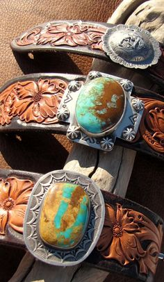 Spanish Cross Concha Cuffs - Navajo stamping and concho accents combined with Kingman turquoise. - #CowgirlChic