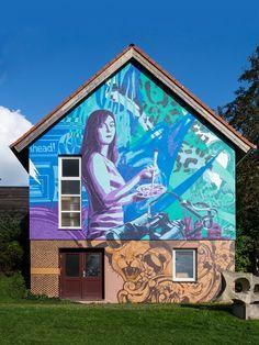 3Steps | The Sense of Things | blue | colors | colours | girl | lion | mural | graffiti | urban | Art | sky | sunny | brush | ahead | Germany | Kleinsassen | patterns