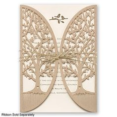 Love Is Tweet - Laser-Cut Wedding Invitation - Kraft paper, Lovebirds at Invitations By David's Bridal